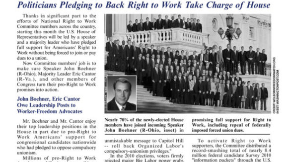 January 2011 issue of The National Right To Work Committee Newsletter now available