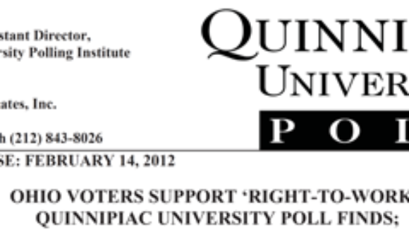 Quinnipiac Poll:  54% to 40% -- Ohio voters want to pass Right To Work