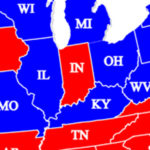 Red White and Blue right to work map4 INDIANA