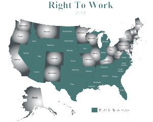 2013 Right To Work States Map