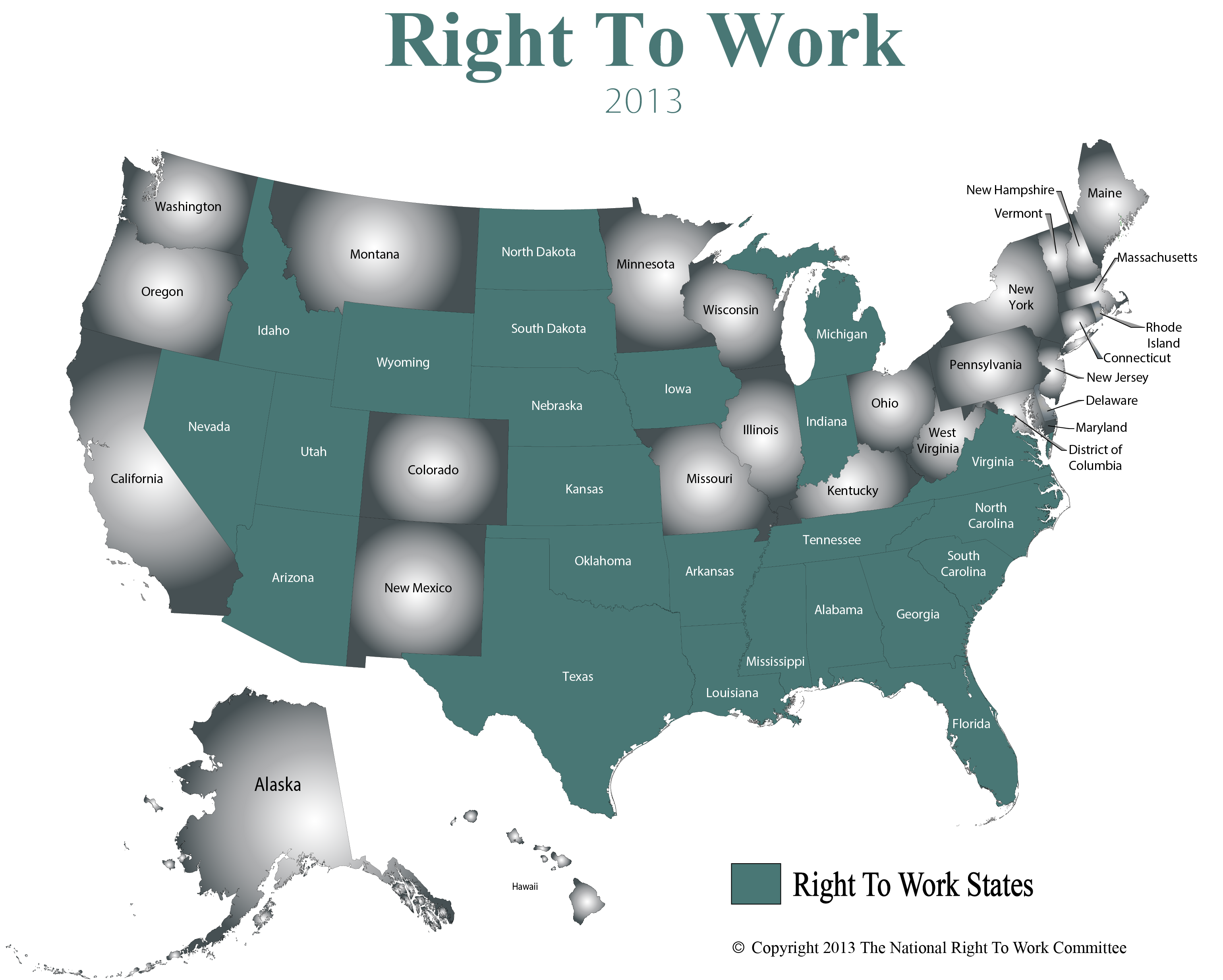 Labor Union States Map.What Does Right To Work Mean Nrtwc Org