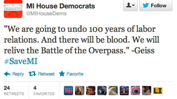 "Michigan Democrats Warn ""there will be blood."""
