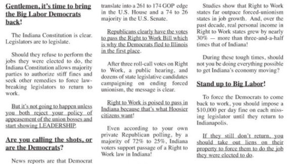 The Indiana Right To Work Ad: Daniels and Bosma