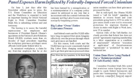 June 2015 National Right To Work Committee Newsletter available online