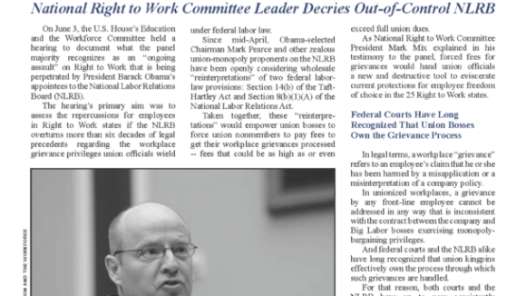 July 2015 National Right To Work Committee Newsletter available online