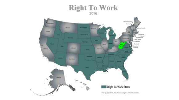 West Virginia Now 26th Right To Work State
