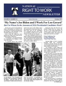 October 2015 National Right To Work Committee Newsletter