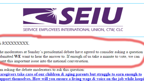 Presidential Debate To Use SEIU Union Bosses' Question