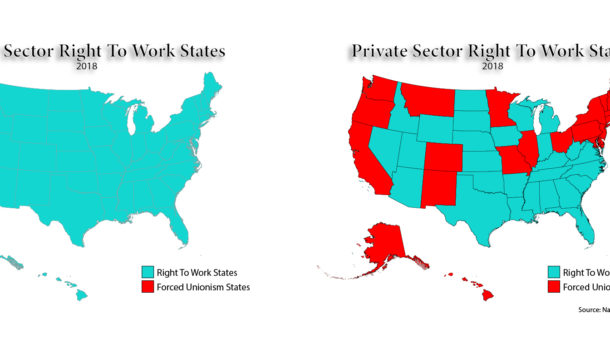 Right To Work States Vs Union States Map.What Does Right To Work Mean Nrtwc Org