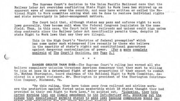 May/June 1956 National Right To Work Newsletter Summary