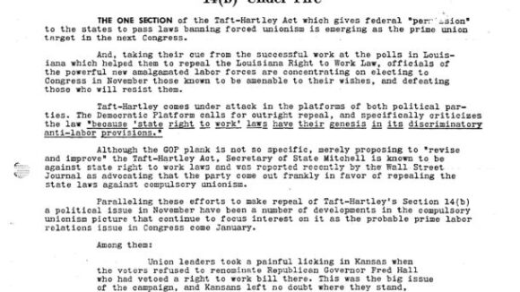 August 1965 National Right to Work Newsletter Summary