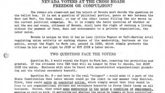 January 1956 National Right to Work Newsletter Summary
