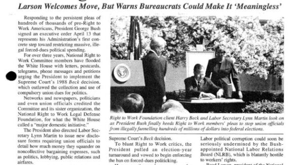 May 1992 National Right To Work Newsletter Summary
