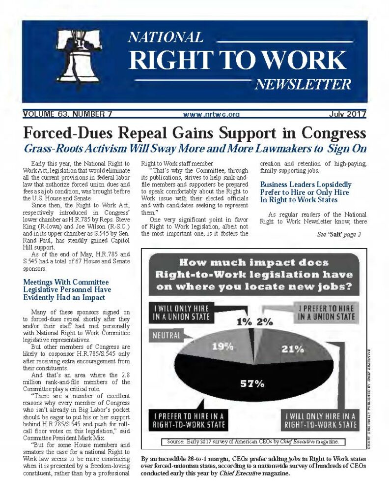 July 2017 National Right to Work Newsletter