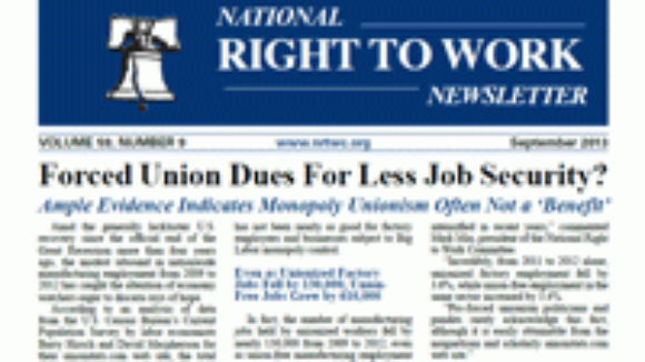 September 2013 National Right To Work Committee Newsletter Available Online