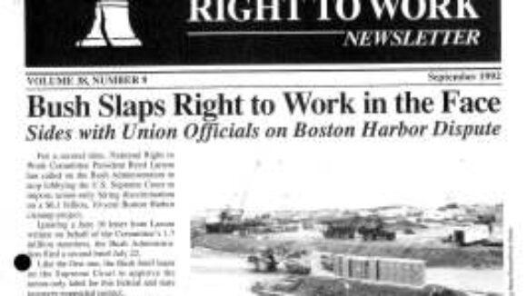September 1992 National Right to Work Newsletter Summary