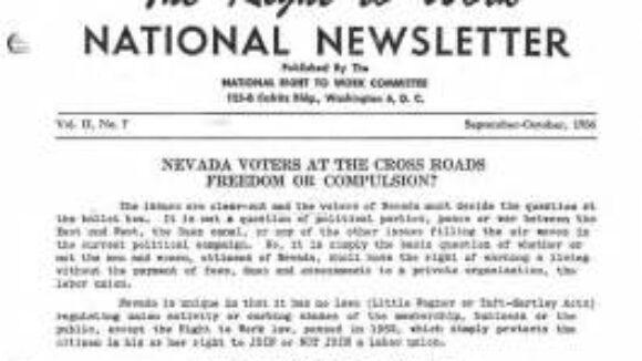 September/October 1956 National Right to Work Newsletter Summary