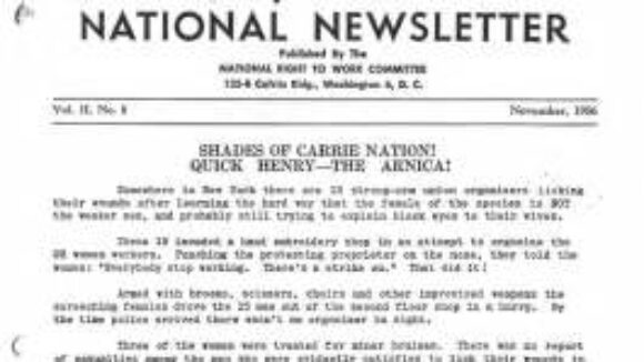 November 1956 National Right to Work Newsletter Summary