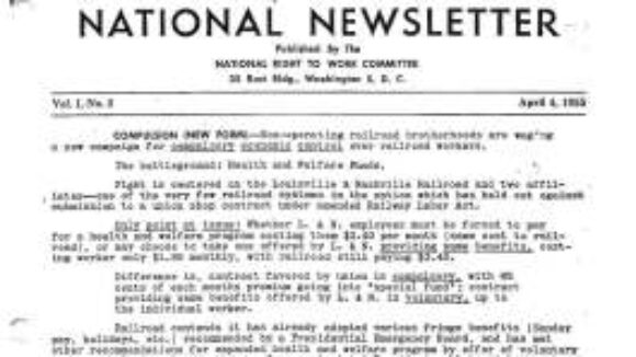 April 1955 National Right to Work Committee Newsletter Summary