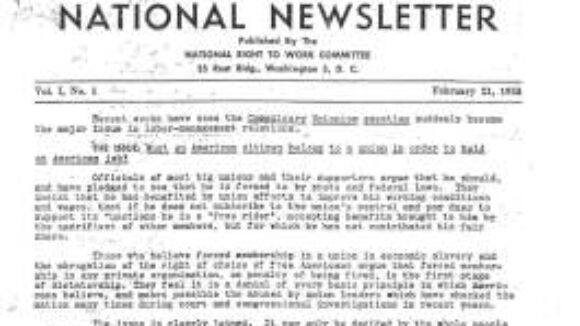 February 1955 National Right to Work Newsletter Summary