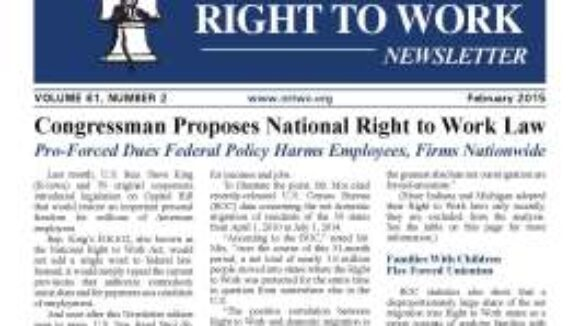 February 2015 National Right to Work Newsletter Summary