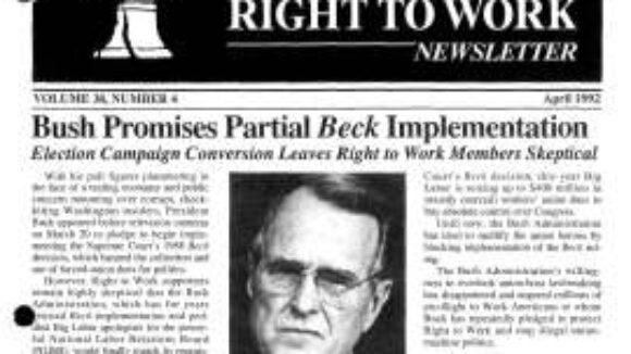April 1992 National Right To Work Newsletter Summary
