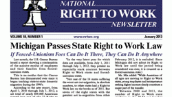 January 2013 National Right To Work Committee Newsletter Available Online