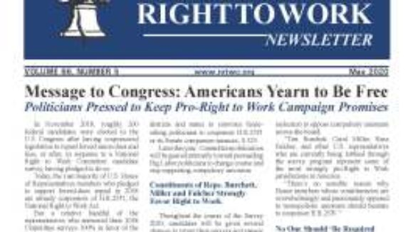 May 2020 National Right To Work Newsletter Summary