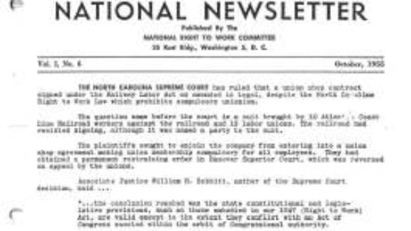 October 1955 National Right To Work Newsletter Summary
