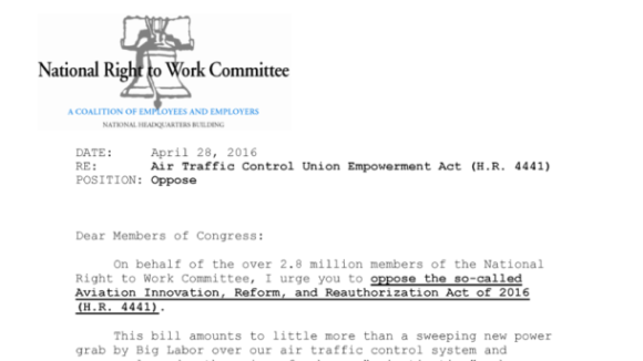 NRTW Opposes Air Traffic Control Union Empowerment Act
