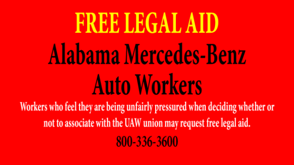 Free Legal Aid to Protect Employee Rights at Alabama Mercedes-Benz Factory