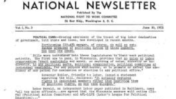 June 1955 National Right to Work Newsletter Summary