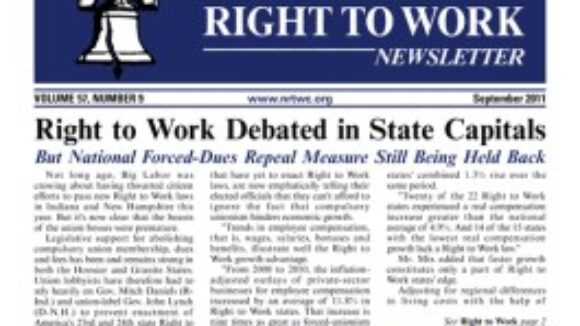 September 2011 issue of The National Right To Work Committee Newsletter now available