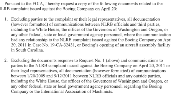 FOIA Seeks Records of Possible Collusion Between White House, Governors and the NLRB