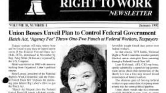 January 1992 National Right to Work Newsletter Summary
