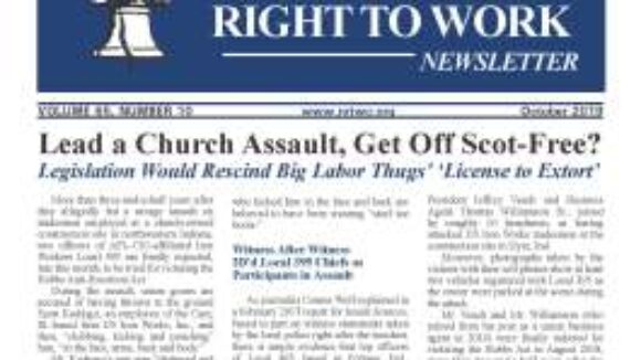 October 2019 National Right To Work Newsletter Summary