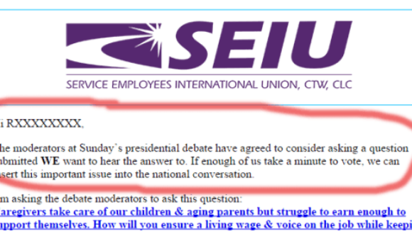 Presidential Debate To Use SEIU Union Bosses' Question
