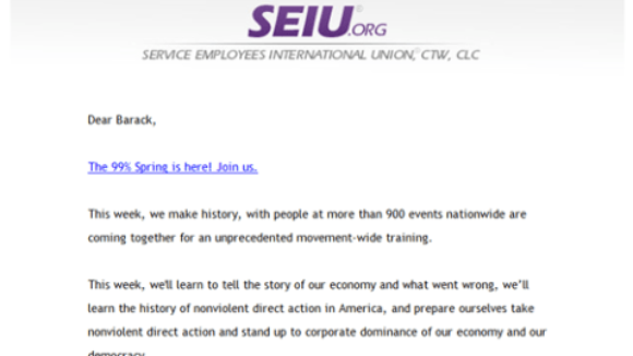 Move Over Occupy Wall Street, SEIU's 99% Spring is taking over