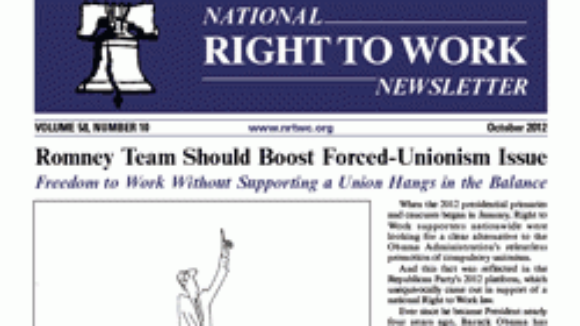 October 2012 National Right To Work Committee Newsletter Available Online