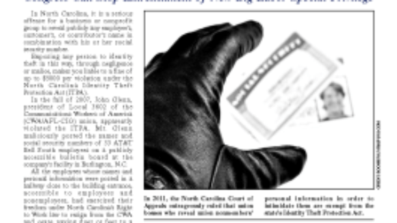 NC Court Green Lights Big Labor, Okays Violating Workers' Privacy