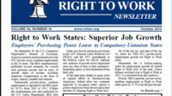 October 2013 National Right To Work Committee Newsletter Available Online