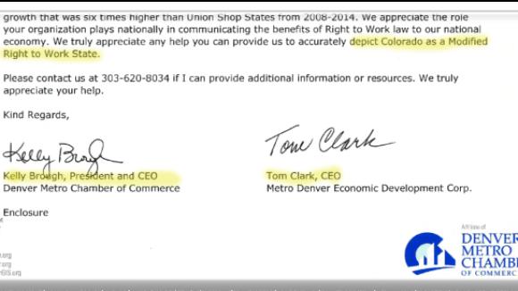 Colorado Officials Non-Right To Work Status Hurts