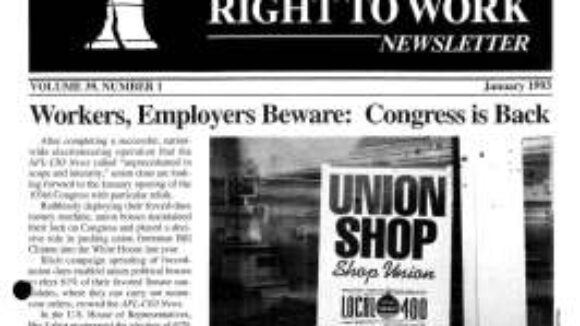 January 1993 National Right To Work Newsletter Summary