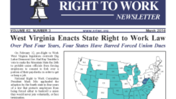 March 2016 National Right To Work Committee Newsletter available online