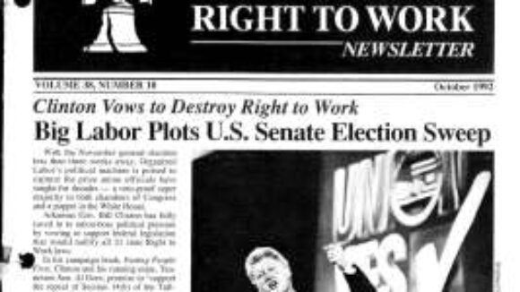 October 1992 National Right to Work Newsletter Summary
