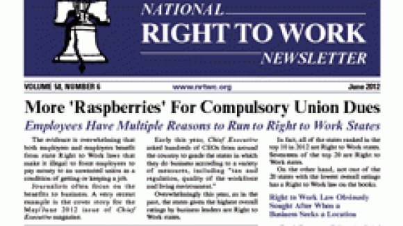June 2012 National Right To Work Committee Newsletter Available Online