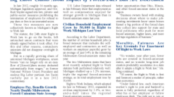 Right to Work Helps Michigan Economy Revive